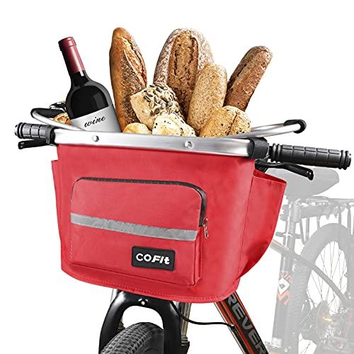 COFIT Canasta de Bicicleta Plegable, Cesta de Bicicleta Multifuncional Utilizada para Llevar Mascotas, Bolsas de Compras, Bolsas de Viaje, Acampar al Aire Libre Actualizado Rojo