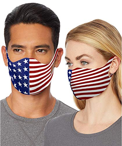 2020 USA American Flag Face Mask Reusable Washable Breathable Designer Cloth Masks with Comfortable Earloop Protection for Men Women Kids (1 Pack)
