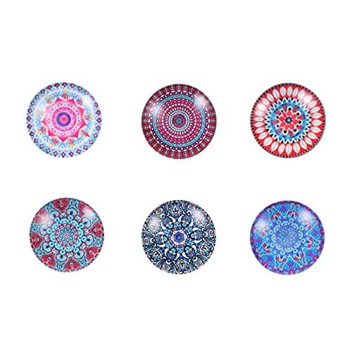 CLISPEED 6 Unidades de Imanes de Nevera Mandala DIY Mapa de Cristal Flor Imán Tablón de Anuncios Imanes para La Decoración de La Cocina del Hogar de La Oficina Patrón Aleatorio
