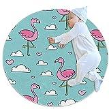 Alfombra antideslizante con diseño de flamencos rosas nubes cielo azul para sala de estar, dormitorio y baño, alfombra redonda moderna, alfombra suave 70/80/100 cm