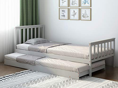 PANANASTORE Wood Single Day Bed- Pullout Trundle Included, 3FT Guest Bed in Grey 2in1 Underbed Bed Frame with Slatted Base (Grey)
