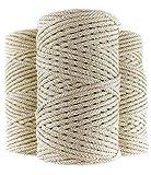 LA LUPE Cuerda Macrame Trenzada de algodón 100%, 100m, 4mm, Color Beige. Rollo de Hilo de Crochet Grueso. Cordón para Costura, Manualidades, Tejer y Ganchillo.
