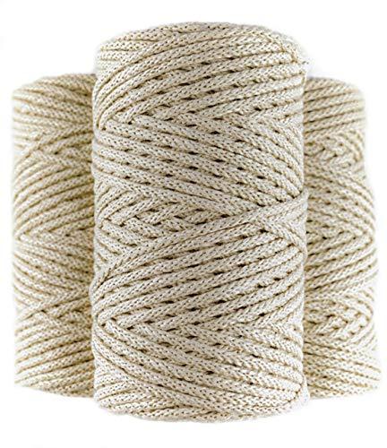 Cuerda macrame trenzada de algodón 100%, 100m, 4mm, color beige. Rollo de Hilo de crochet grueso. Cordón para costura, manualidades, tejer y ganchillo.