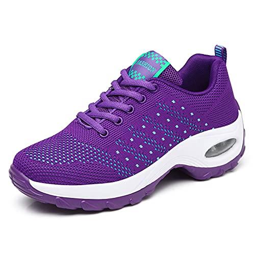 GAXmi Zapatillas Deportivas Mujer Respirable Zapatos Gimnasia Running Antideslizantes Casual Morado 38EU
