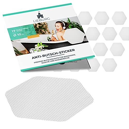 Lieburg Anti Rutsch Aufkleber für Badewanne & Dusche - XXL 17 Sticker - Badewanne Antirutsch - transparent & selbstklebend - 10,5cm Sechseck - Badewannensticker - Antirutsch Dusche
