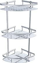 Estantes Baño, Estantería para Ducha en Metal de Esquina de Pared, Soporte de Aluminio Duradero con 3 Cestos, Triangular Organizador para Baño y Cocina 56×23×30cm, Plata