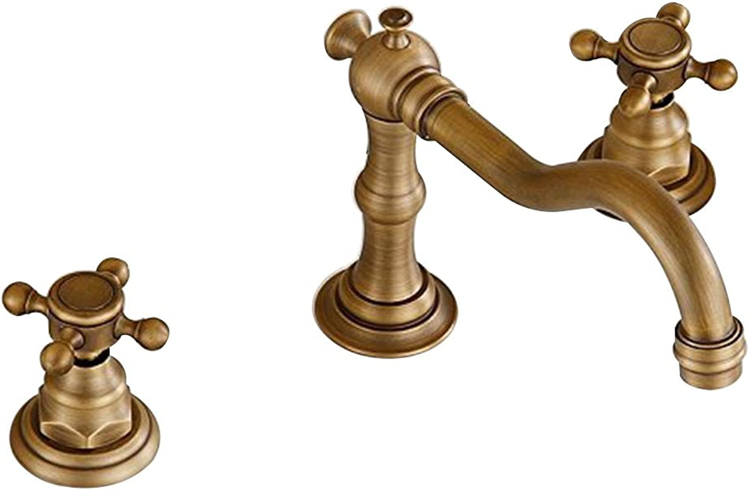 Inchant Brass Bathroom Sink Tap 3-Holes 2-Handles Deck Mount Mixer Tap with Supply Hose Antique Style Brushed Nickel