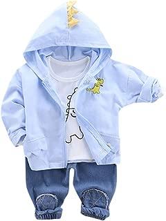 Toddler Kids Hooded Cartoon Dinosaur Jacket Coat+T-Shirt+Denim Pants Outfits Set,SIN vimklo