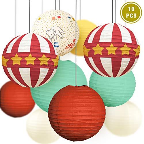 NICROLANDEE Circus - Farolillos de papel rojo y blanco para juegos de carnaval, Dumbo, fiesta de cumpleaños, baby shower, decoración para fiestas infantiles Retro Circo
