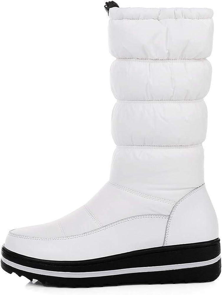 Women's Waterproof Winter Snow Boots Mid Calf Ski Shoes Warm Platform Down Booties Black White Slip On Tall Hiking Boot Round Toe Cute Fashion Flat Heels Non Slip