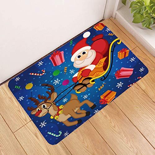Deurmat tapijt, 3D-bedrukte cartoon kerstman en rendier, antislip, zachte ingang, vloermat, welkom, slaapkamer, hal, rechthoekige deurmat voor Kerstmis, Home of woonkamer 50×80cm