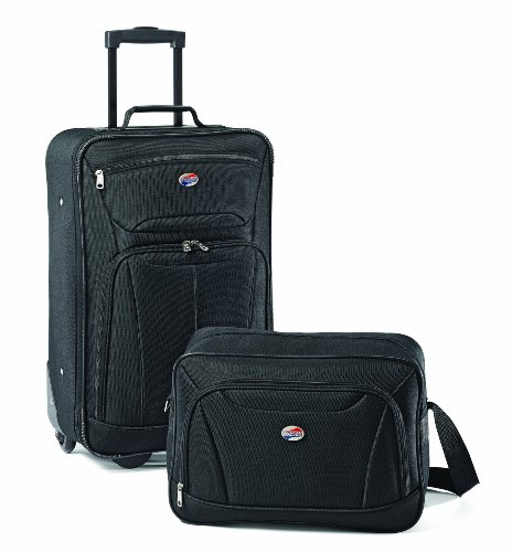 American Tourister Fieldbrook II Softside Upright Luggage Set, Black, 2-Piece (tote/21)