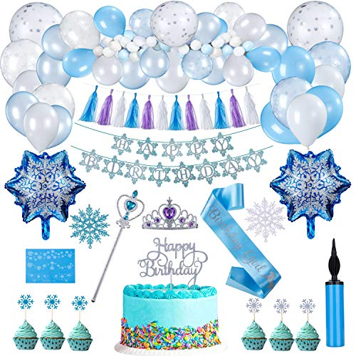 FORMIZON Schneeflocke Geburtstagsfeier Dekorationen, Gefrorene Blaue & Weiße & Konfettilatex Ballone Frozen Party Geburtstag Deko Banner für Partyset Kindergeburtstag