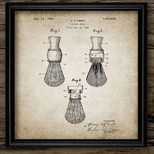 LiMengQi Planos de Patente de barbero Vintage Carteles Impresiones en Lienzo, brocha de Afeitar, Poste de barbería de Tijeras, decoración de barbería(No Frame)