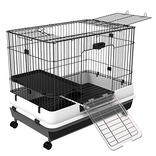 """PawHut 32""""L 2-Level Indoor Small Animal Cage Rabbit Hutch with Wheels - Black (Hamster Cage Wheel)"""
