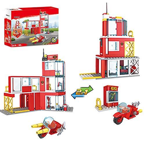 Kit de construction 2 en 1 caserne de pompiers avec moto de pompiers et blocs de construction pour enfants âgés de 6 ans et plus, 160 pièces