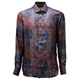 Bagutta 4352AD Camicia Uomo Multicolor Pure Silk Shirt Man [43 (17)]
