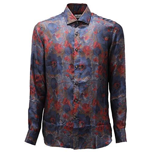 Bagutta 4352AD Camicia Uomo Multicolor Pure Silk Shirt Man [43 (17)]