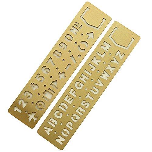 Cheerlife Metall Schablone Buchstaben und Zahlen Zeichnen Vorlagen Lesezeichen Lineal für Bullet Journal, Scrapbooking, Karten, Tagebuch, DIY-Bastelprojekte (2 in 1 Set)