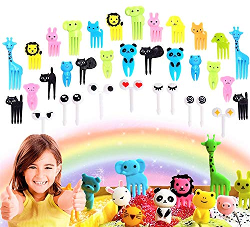 Set of 36 JeVenis Cute Animals Food Picks Mini Cartoon Toothpick Fruit Forks for Bento Box Lunch Box Decorative