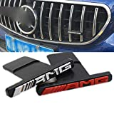 LSYBB Parrilla Delantera Estilo GTR AMG Mini Logotipo A B C E Clase W176 W246 W204 W205 W212 W213 GLC X253 GLE W292 Apto para Todos los Modelos de automóviles GTR AL,Silver