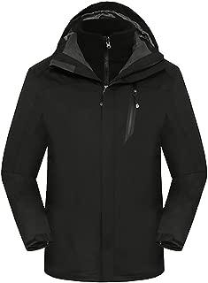 Men's 3 in 1 Waterproof Windproof Ski Snow Outdoorwear Winter Jacket Raincoat Hooded with Inner Warm Fleece Coat