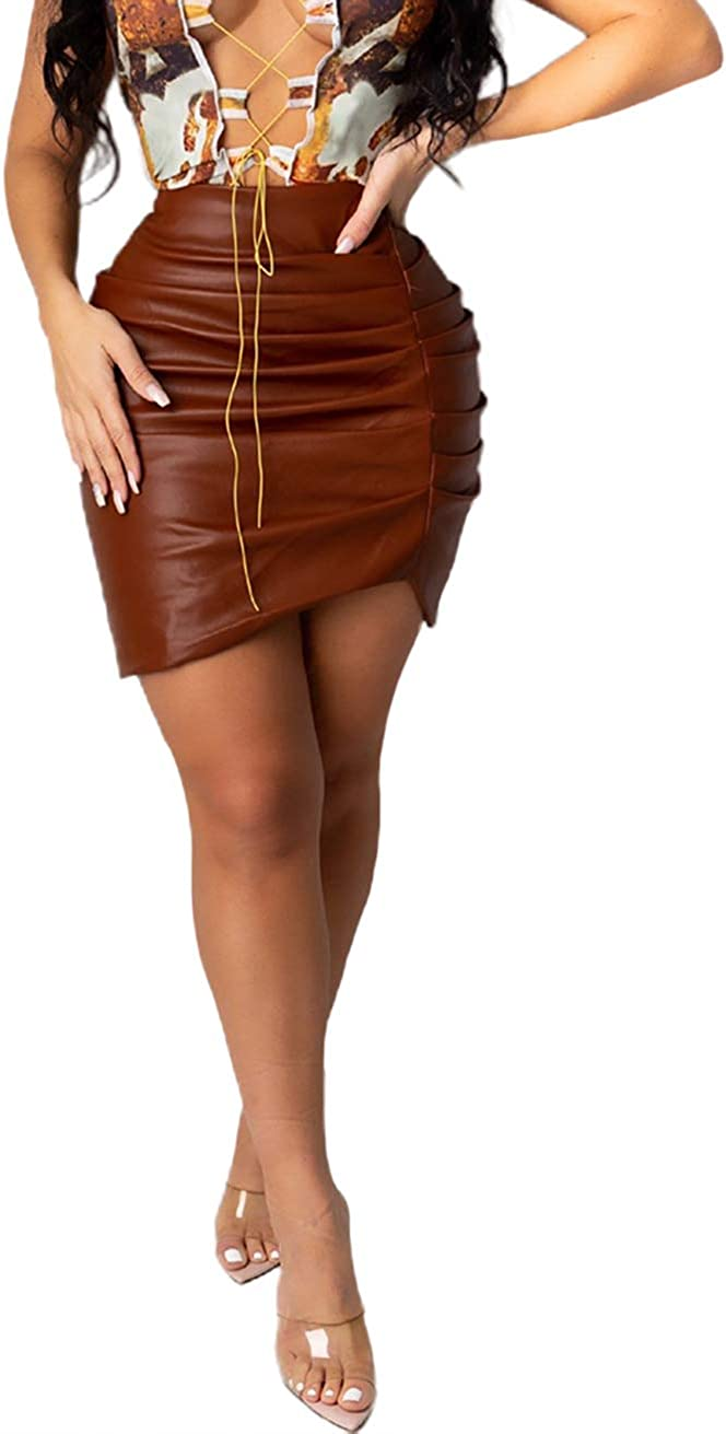 chouyatou Women's Ruched Package Hip Irregular Faux Leather Bodycon Mini Skirt