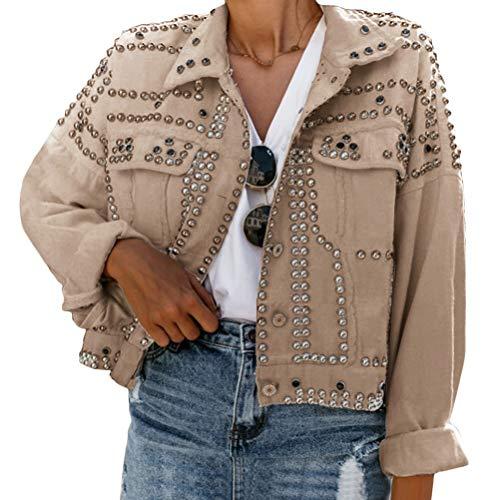 Onsoyours Damen Jeansjacke Damenjacke Jeans Jacke Kurze Nieten Langarm Stretch Vintage Wash Leichte Freizeit Denimjacke Revers Outwear Khaki XL