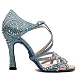 Manuel Reina - Zapatos de Baile Latino Mujer Salsa Competition 01 Blue Pearl - Bailar Bachata, Salsa, Kizomba (38 EU, Tacón: 7.5)