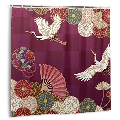 LiBei Duschvorhang,braune Kimono-Kraniche Handball-Handfächer und Chrysanthemen Japanisches traditionelles Muster Buntes Vogel-Stoff-Badezimmer-Dekor-Set mit Haken 180cmx180cm
