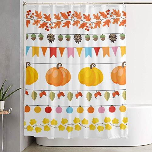 Nongmei Shower curtain,Cute Autumn Fall Garlands With Lights Flags Acorns Leaves Pumpkins Pine Cones And Rose Hips,bathroom curtain washable curtain polyester fabric with 12 plastic hooks 180x210cm