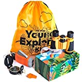 HQ 4KIDS BY: WE 4U - Outdoor Adventure Kit for Kids: Set Binoculars, Compass, Magnifying Glass & Flashlight. Explorer Hiking & Camping Toy ,Educational Play & Birthday Gift 3-12 Year Old Boys & Girls