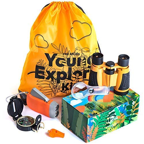 HQ 4KIDS BY: WE 4U - Outdoor Adventure Kit for Kids: Set Binoculars, Compass, Magnifying Glass & Flashlight. Explorer Hiking & Camping Toy ,Easter & Birthday Gift 3-12 Year Old Boys & Girls