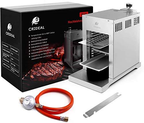 CRZDEAL 880 Grad Steak Gasgrill mit Impulszünder und Temperaturregler. Infrarot-Steakmaschine mit 2 Tabletts, 1 Grill, 2 beweglichen Halterungen