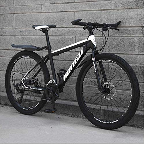 HCMNME Durable Bicycle, 24 inch Mountain Bike Variable Speed Off-Road Shock-Absorbing Bicycle Light Road Racing Spoke Wheel Alloy Frame with Disc Brakes