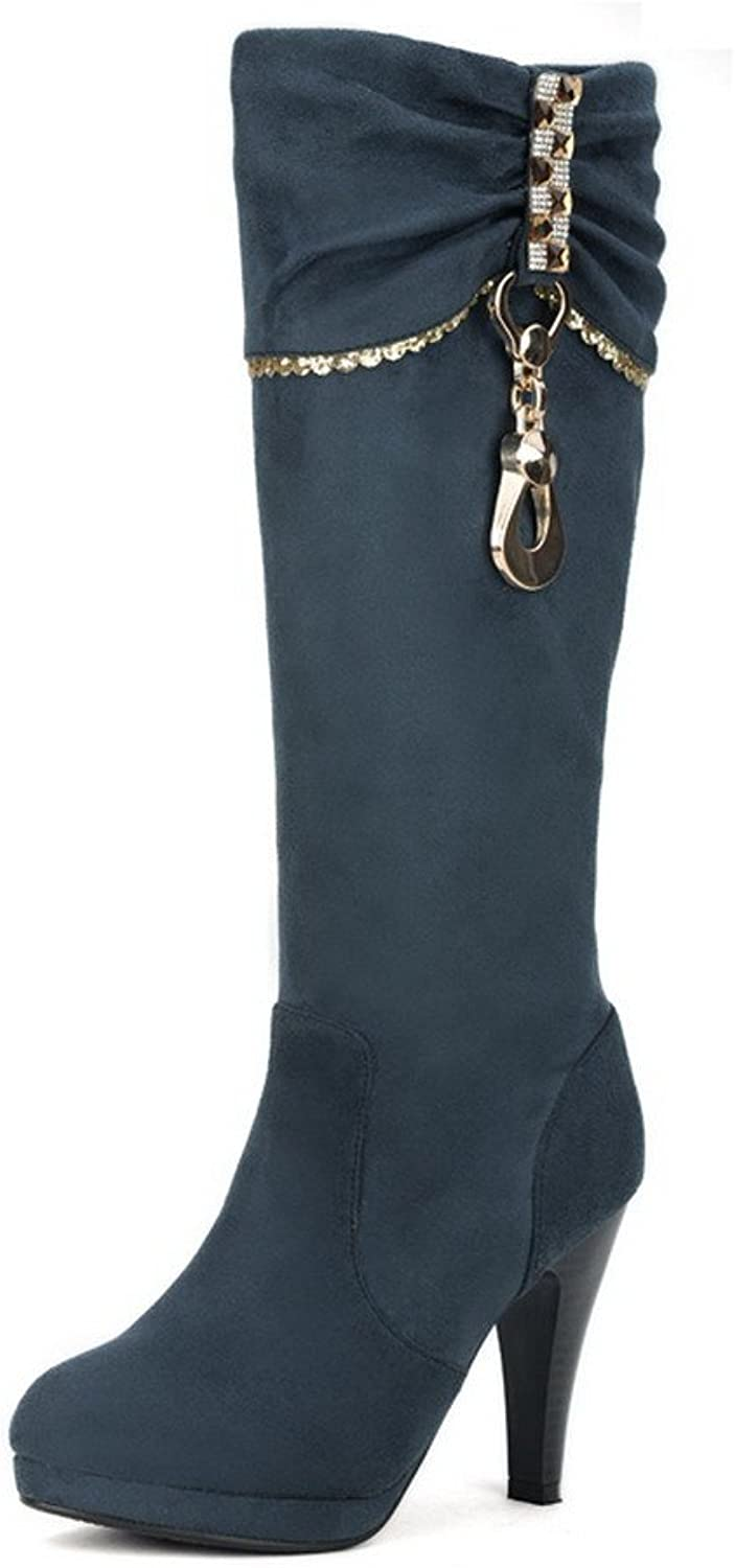 WeenFashion Womens Closed Round Toe Frosted PU Solid Boots with Metalornament, Green, 7.5 B(M) US