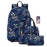 Juego de bolsas escolares, 3 piezas, mochila de flores, bolsas de hombro para niños y niñas adolescentes con bolsa de almuerzo, estuche de lápices, puerto de carga USB, Blue, Talla única,