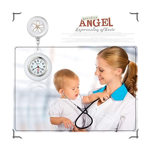 Lancardo Lapel Watch for Nurses Doctors Clip-on Hanging Nurse Watches Cute Leaves Pattern Silicon Cover Badge Stethoscope Retractable Fob Watch
