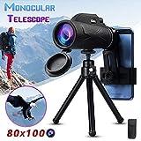 Monocular 50x60 80x100 prismáticos telescopio del zumbido Gran portátil visión LLL Noche Militar HD Profesionales de Caza (Color : 80x100)