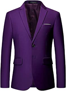 Men Long Sleeves Lapel Collar Two Button Slim Fit Sport Coat Blazer