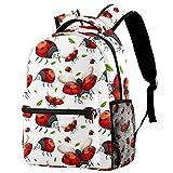 LAZEN Sac à dos décontracté High College & Middle School Bookbag Randonnée Camping Daypack Seamless Pattern Of Ladybug