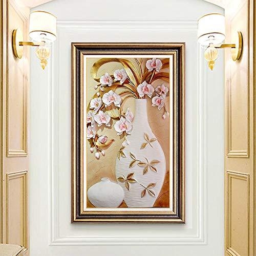 N/A 5D-DIY-Korridor Magnolie Vase Diamant Malerei Blume Runde voller Diamant Anfänger Mosaik Stickerei Kreuzstich Home Dekoration Geschenke-35x65cm