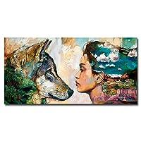 女性とオオカミのキャンバス絵画モダンプリントアートヴィンテージポスタープリントリビングルームの壁画| 60x120cm /フレームなし