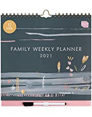 Boxclever Press 12 Month Family Weekly Planner 2021 Calendar. New for 2021! Stunning Family Calendar 2021 with 6 Column Layout. 2021 Wall Calendar from Jan - Dec'21. with Pocket & Planner Stickers.