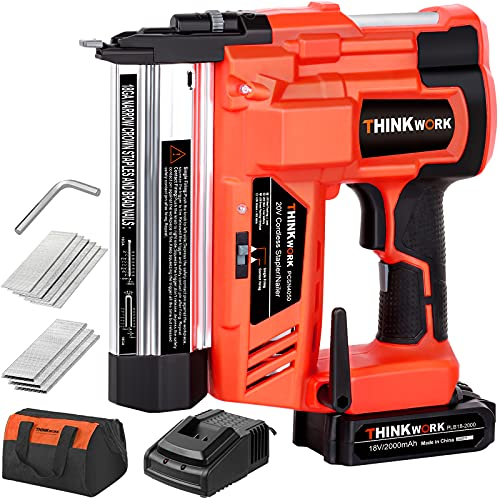 20V 18 Gauge Cordless Brad Nailer / Stapler, Battery Powered Nail / Staple Gun, 2 in 1 Dual Mode Nial Gun with 2AH Lithium Battery, Charger and 18GA Nails for Woodworking, Renovation