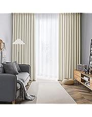 AIFY カーテン 4枚セット 1級 遮光 小窓 ドレープカーテン UVカット 形態記憶加工済み 断熱 節電対策 昼夜目隠し 保温 おしゃれ 洗える 洗濯機対応 (カーテン2枚 レース2枚) 幅100cm×丈110cm ベージュ
