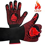 VINSIC BBQ Gloves, 1472℉ Oven Gloves Heat Resistant with Fingers Silicone Oven Mitts for Grade Kitchen Grill Gloves for Barbecue, Cooking, Baking, Welding, Cutting, Smoker - 1 Pair 14 inch