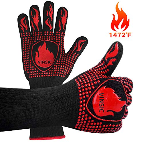 VINSIC BBQ Gloves Oven GlovesSilicone Oven Mitts Heat Resistant with Fingers Barbecue Fire 1472℉ Grade Kitchen Grill Gloves Gift for Barbecue Cooking Baking Welding Cutting 14 inch 1 Pair