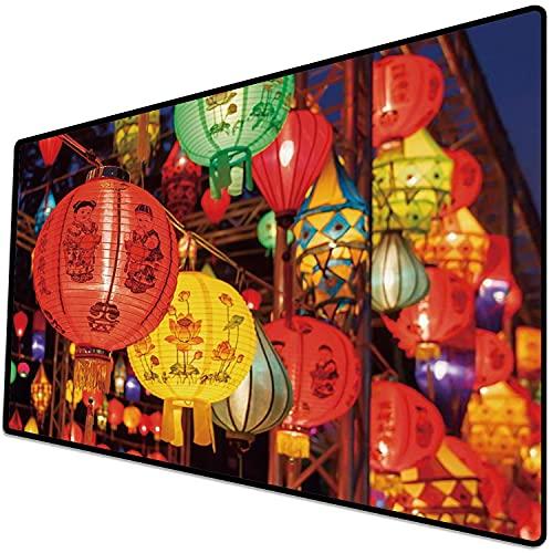 Alfombrilla de ratón (600x300x3 mm) Linterna, Celebración Internacional del Año Nuevo Chino China Hong Kong Corea Cultura indígena, M Superficie Suave y cómoda de la Alfombrilla de ratón para Juegos