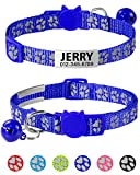 Taglory Reflective Cat Collar Personalized with Name and Number, Cat Collars Breakaway with Bell and ID Tag, 7.5-12.5' Navy Blue